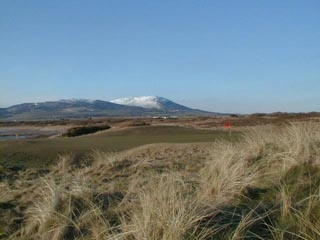 The 12th hole at Southerness with Criffell in the background